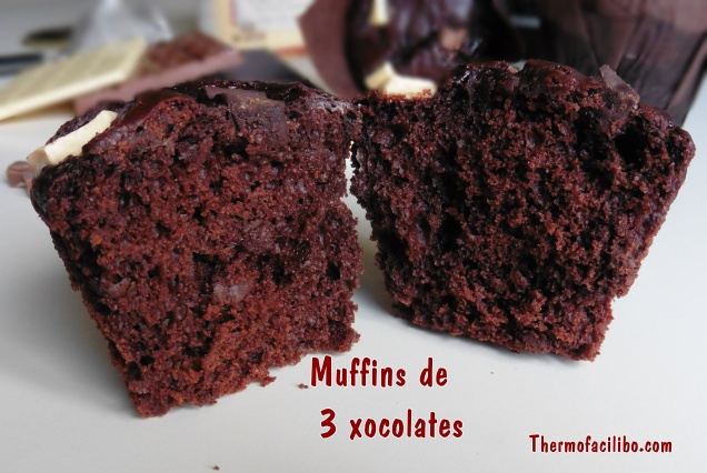 Muffins de 3 xocolates 3