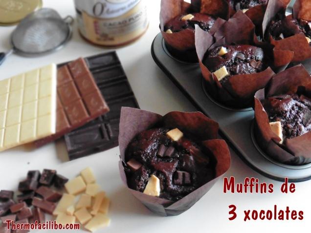 Muffins de 3 xocolates.