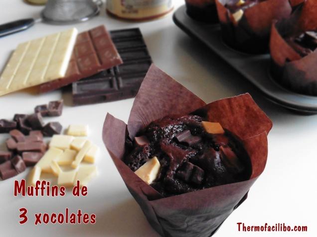 Muffins de 3 xocolates