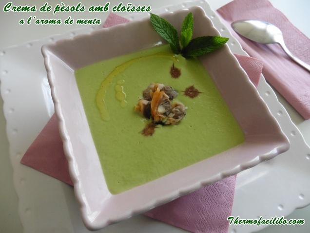 Crema de pèsols amb cloïsses a l'aroma de menta. (1) .