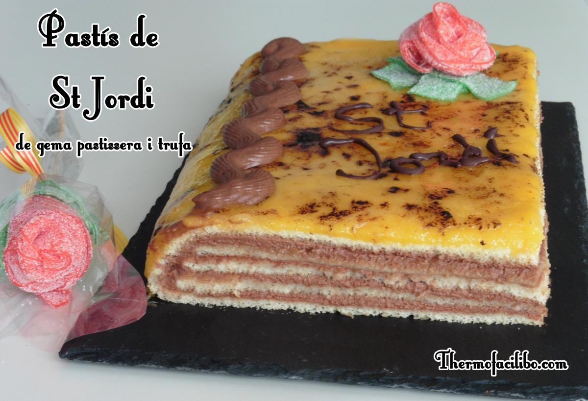 Pastís de Sant Jordi amb gema pastissera i trufa