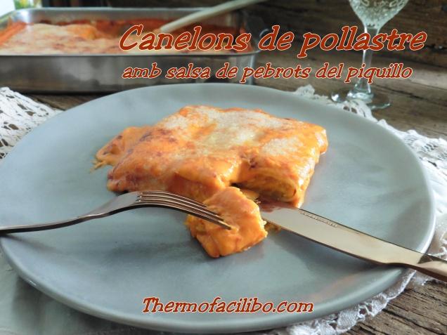 Canelons de pollastre amb salsa de pebrots del piquillo.1