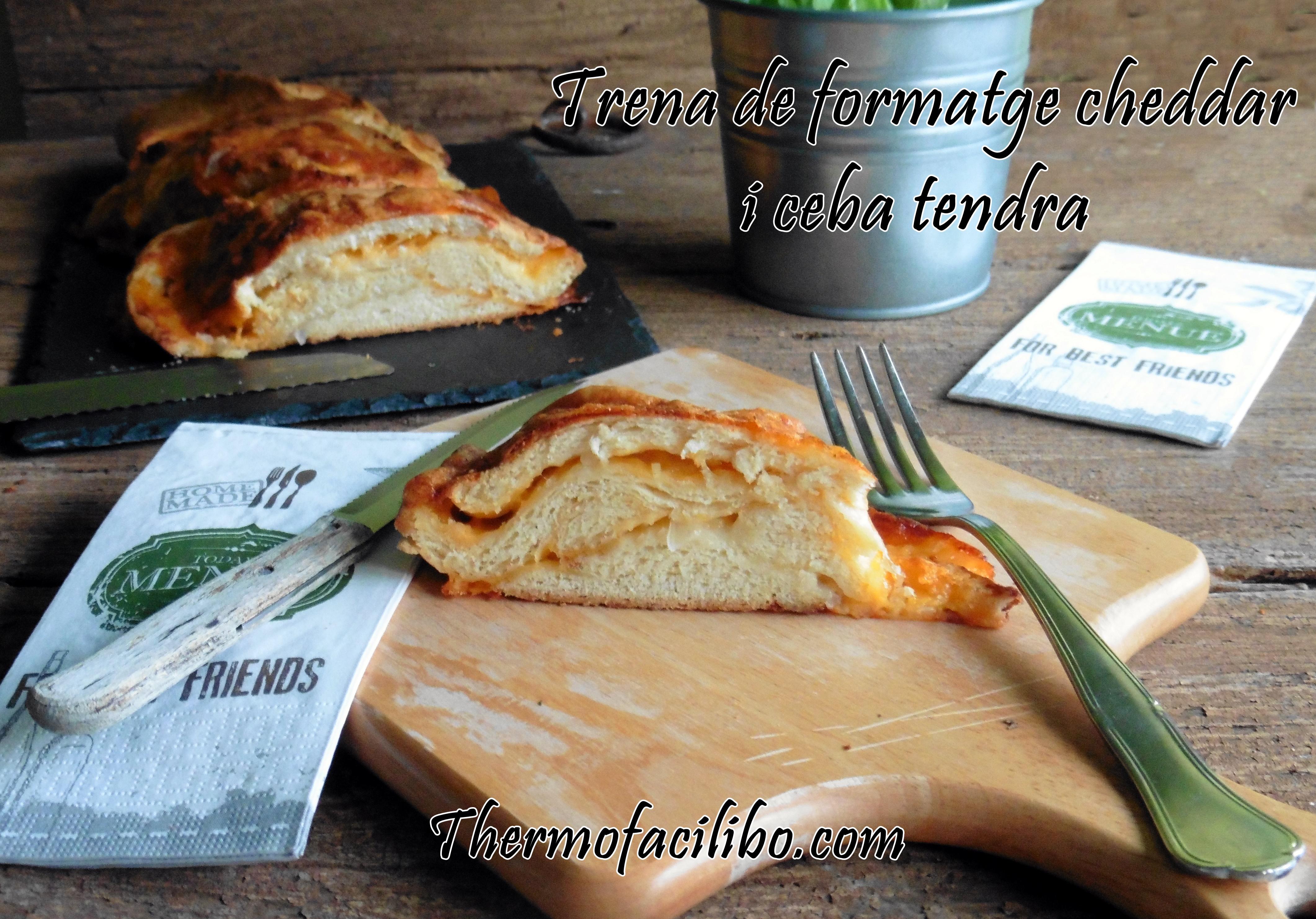 Trena de formatge cheddar i ceba tendra
