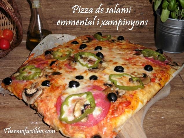 Pizza de salami,emmental i xampinyons