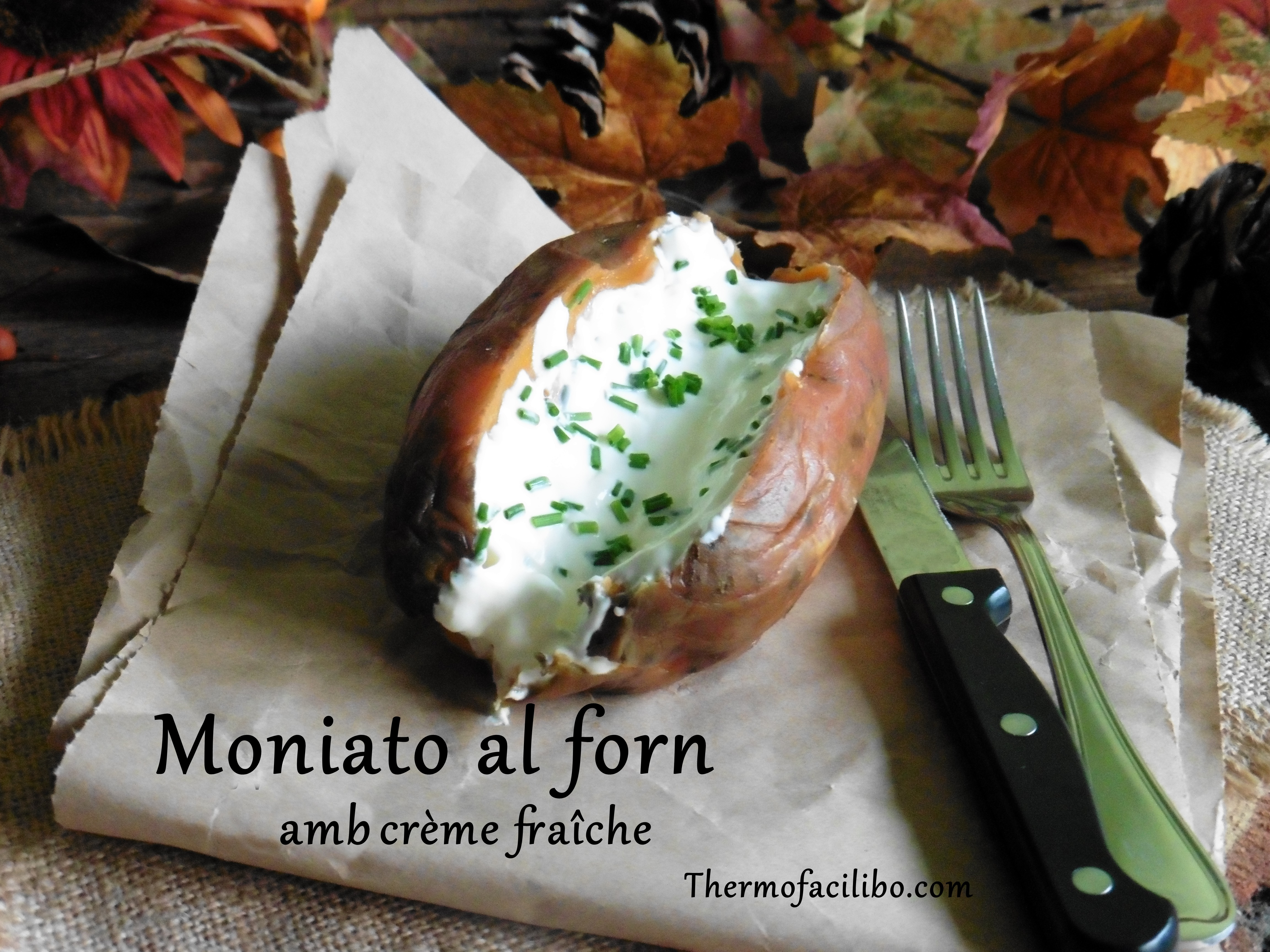 Moniato al forn amb crème fraîche .