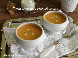 Crema de moniato amb llet de coco i curri