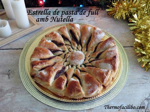 Estrella de pasta de full amb Nutella