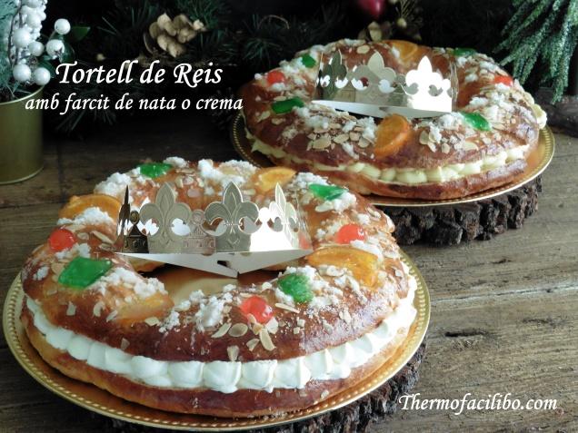 Tortell de Reis farcit de nata o crema