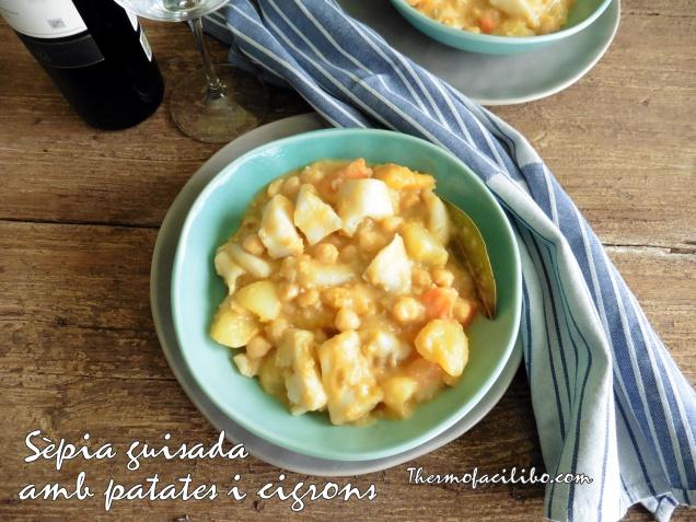 Sèpia guisada amb patates i cigrons
