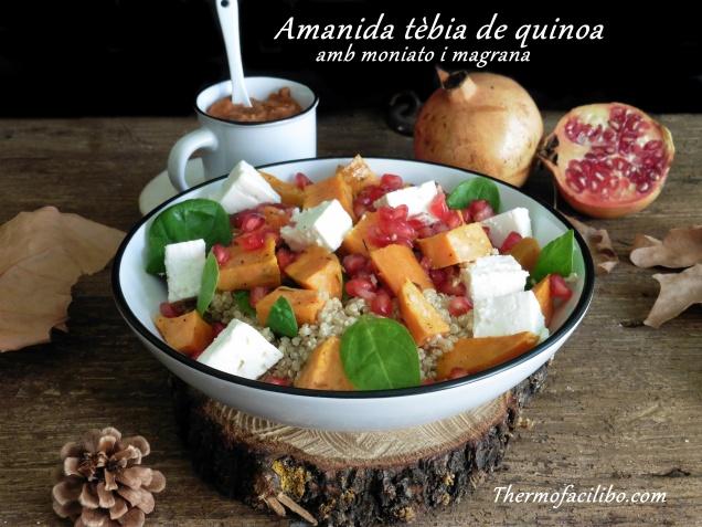 Amanida tèbia de quinoa amb moniato i magrana
