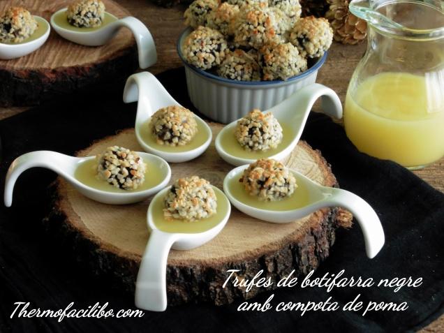 Trufes de botifarra negre amb compota de poma.+