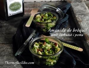 amanida de bròquil amb carbassó i poma.+