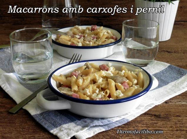 Macarrons amb carxofes i pernil