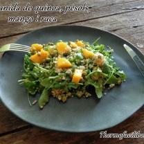 Amanida de quinoa, pèsols, mango i ruca